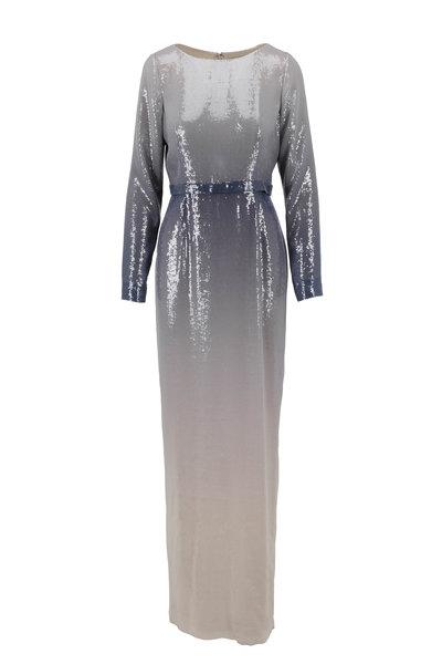 Pamella Roland - Gunmetal Long Sleeve Ombré Gown