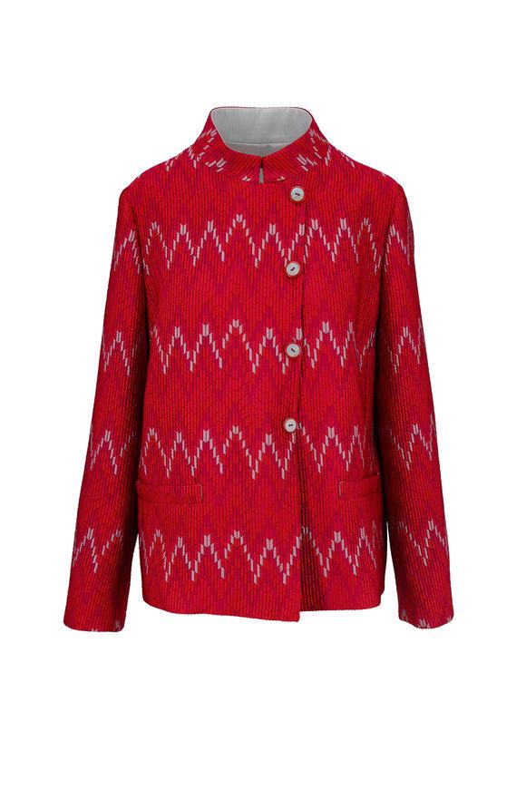 Emporio Armani Red Deco Print Jacquard Jacket