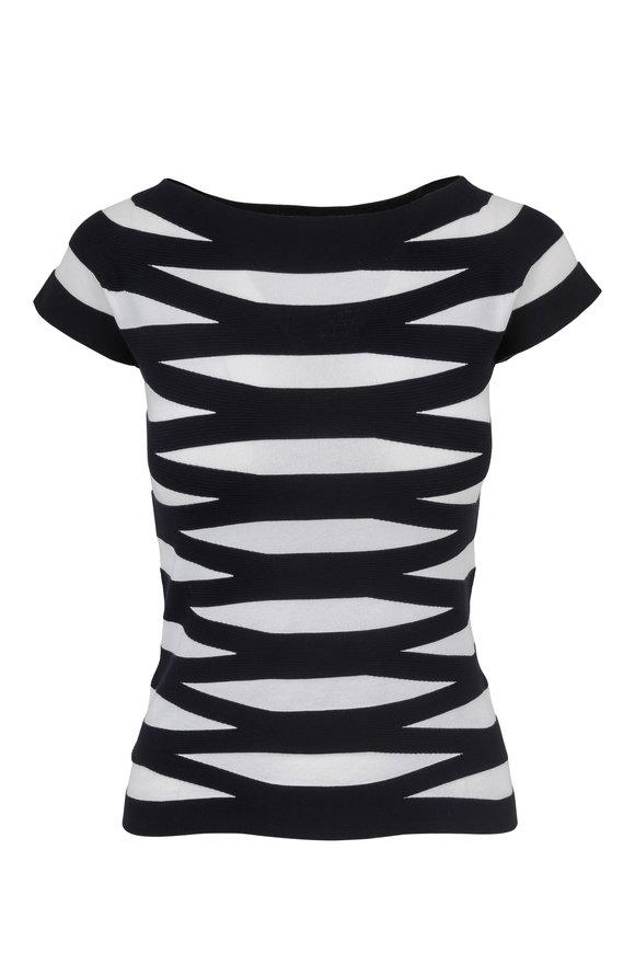 Emporio Armani Navy & White Striped Knit T-Shirt