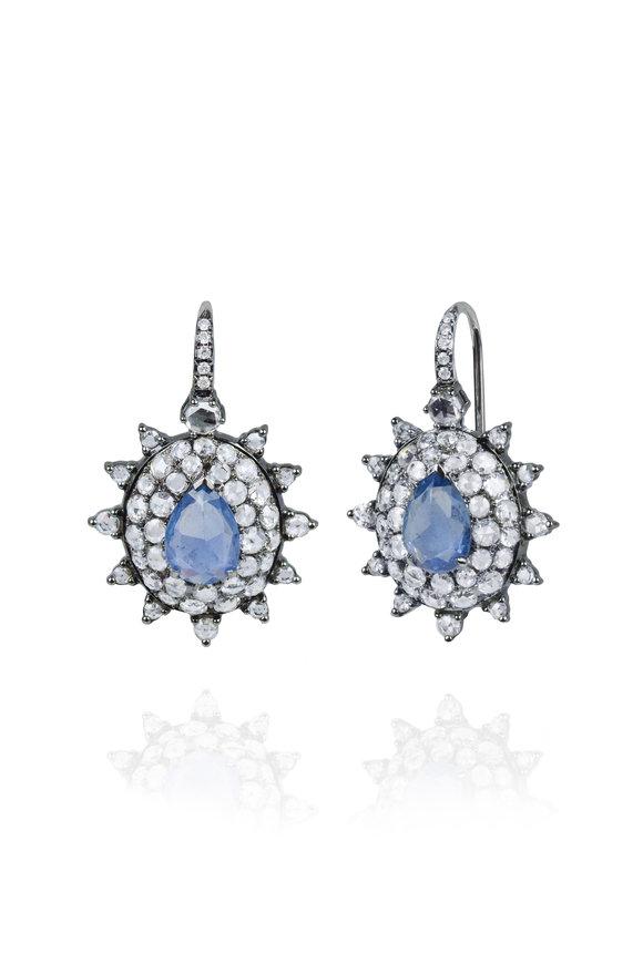 Nam Cho White Gold Blue Sapphire & Diamond Earrings