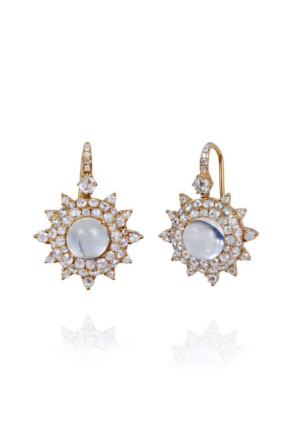 Nam Cho Pink Gold Bluemoonstone & Diamond Earrings
