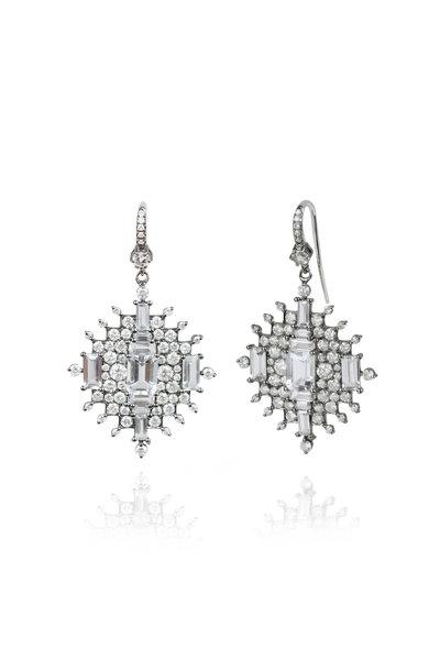 Nam Cho - White Diamond, Sapphire & Aqua Dangle Earrings