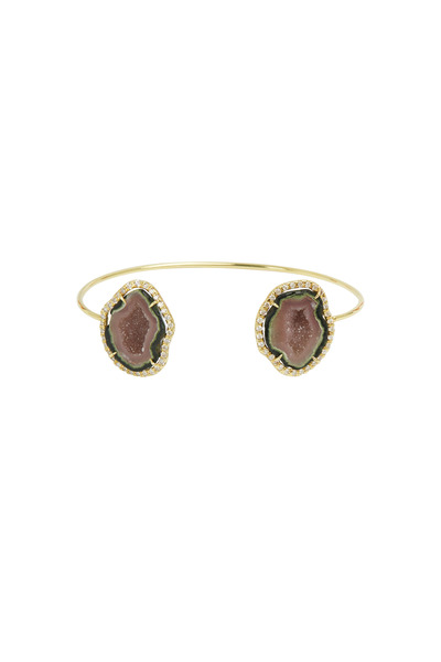 Kimberly McDonald - Yellow Gold Pink & Green Geode Diamond Bracelet