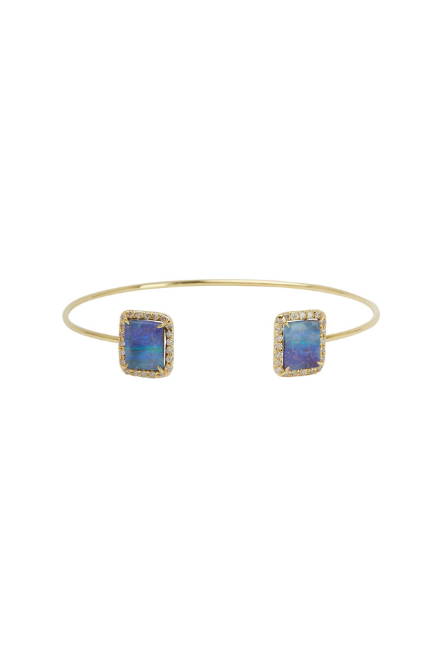 Yellow Gold Boulder Opal Diamond Cuff Bracelet