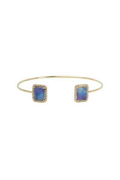 Kimberly McDonald - Yellow Gold Boulder Opal Diamond Cuff Bracelet