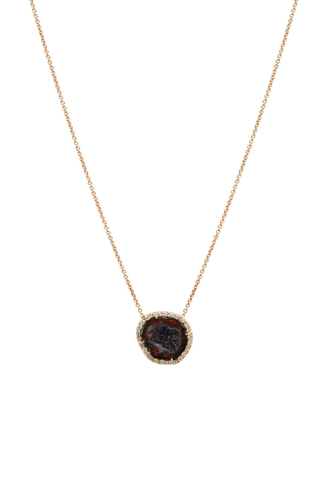Rose Gold Dark Geode Diamond Pendant