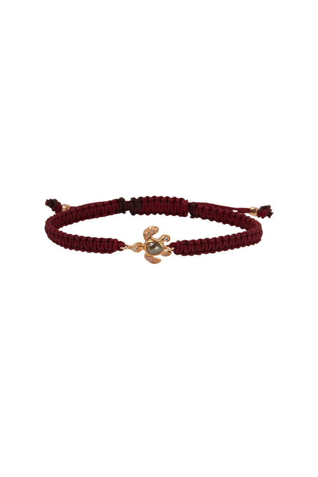 Rose Gold Sea Turtle Red Macrame Bracelet