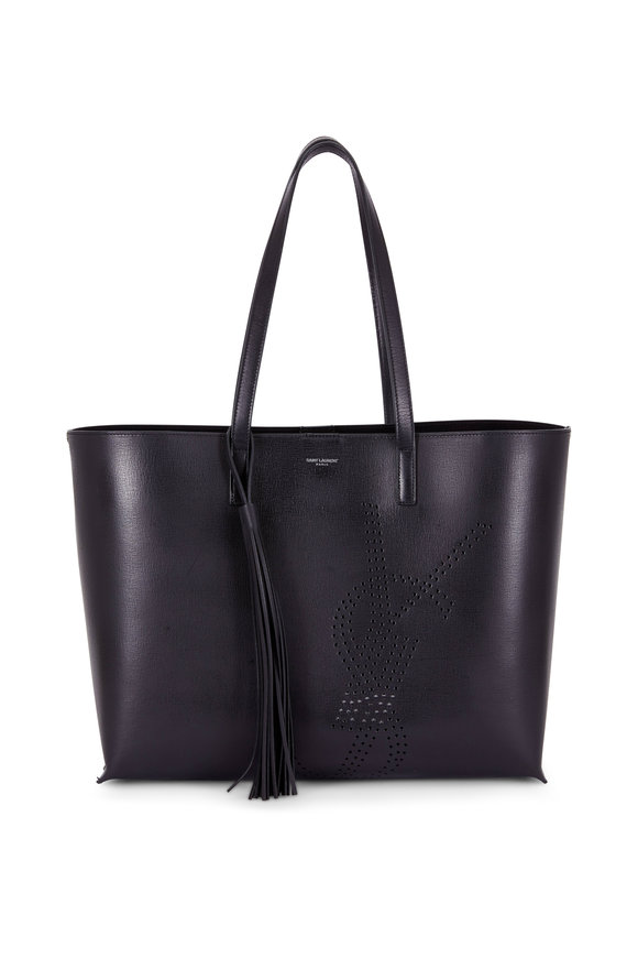Saint Laurent Black Leather Perforated Logo Large Tote
