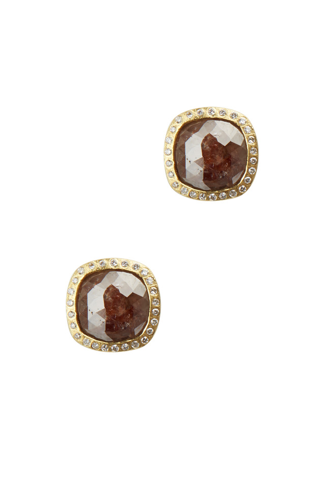 Yellow Gold Red & White Diamond Stud Earrings