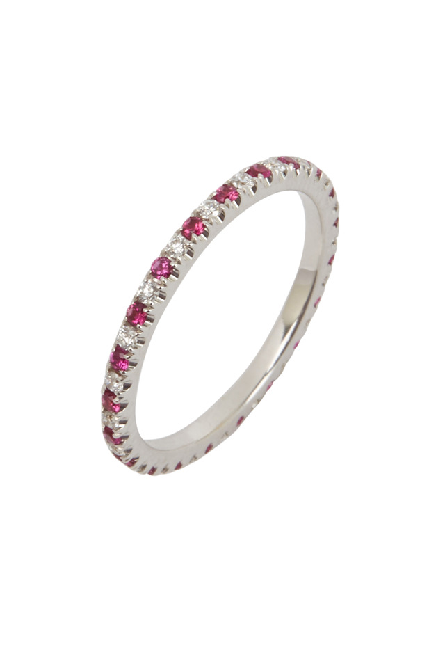 White Gold Red Ruby & White Diamond Wedding Ring