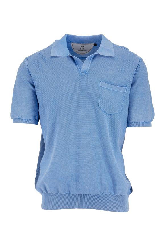 Raffi  Two-Tone Blue Ribbed Polo