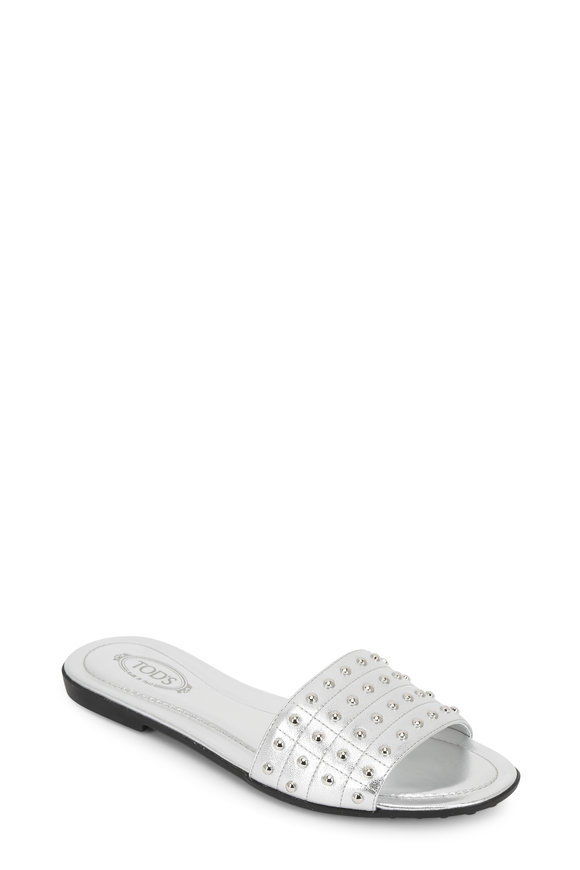 Tod's Silver Studded Leather Slide
