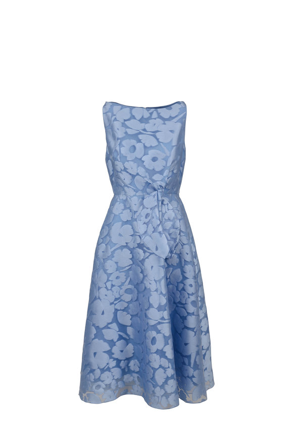 Lela Rose Sky Blue Fil Coupe Bow Front Sleeveless Dress