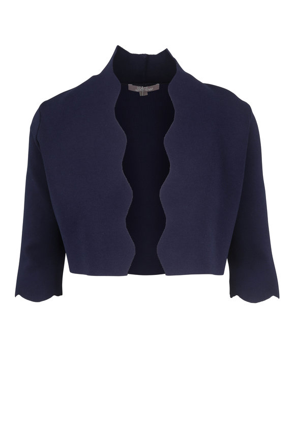 Lela Rose Navy Scallop Trim Bolero
