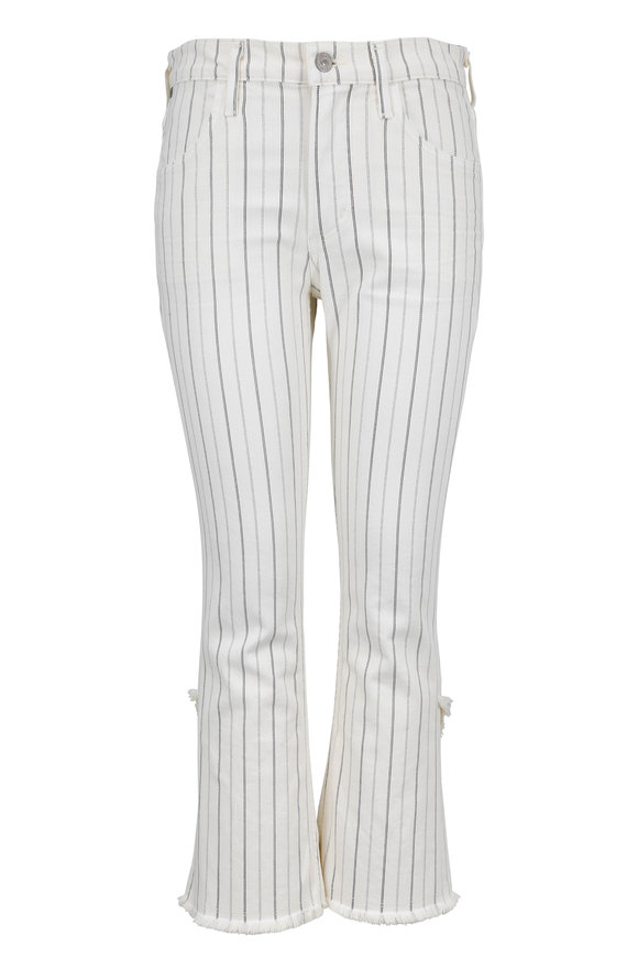 Citizens of Humanity Drew Cream Striped High Rise Crop Flare Jean