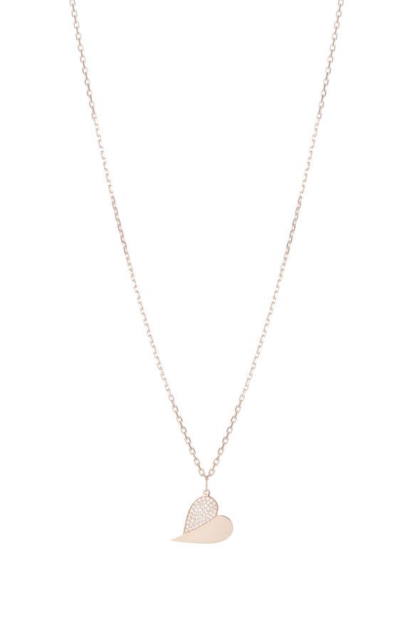 Genevieve Lau Rose Gold & Diamond Sideways Pendant Necklace