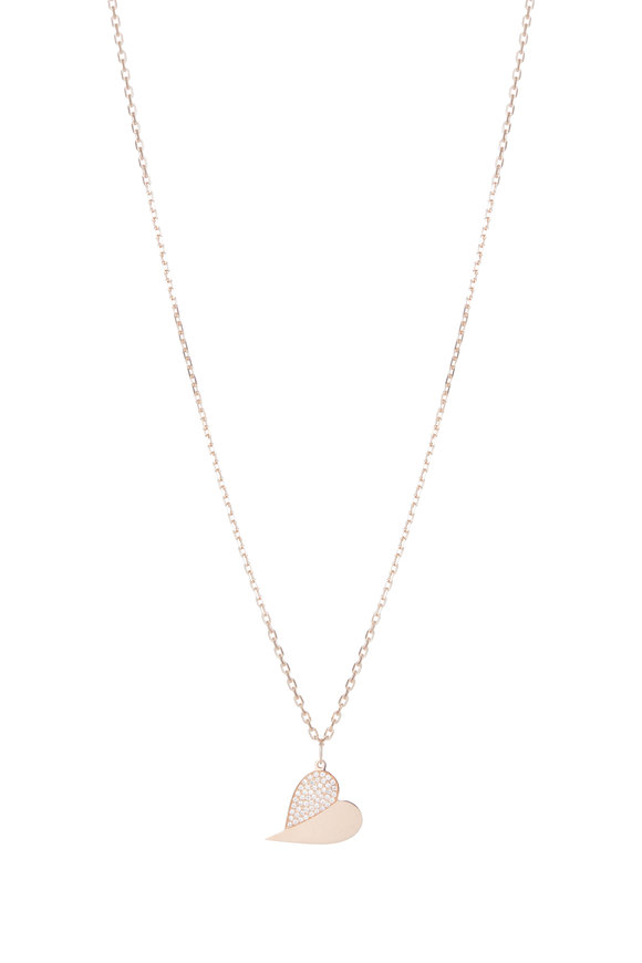 Genevieve Lau Rose Gold & Diamond Sideways Pendant Necklace