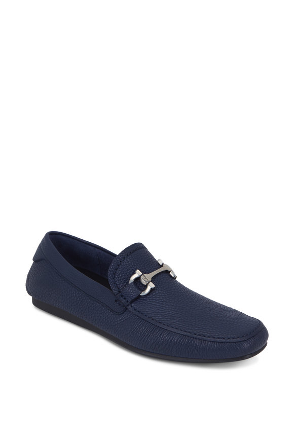 Salvatore Ferragamo Cancun 2 Blue Marine Pebbled Leather Bit Driver