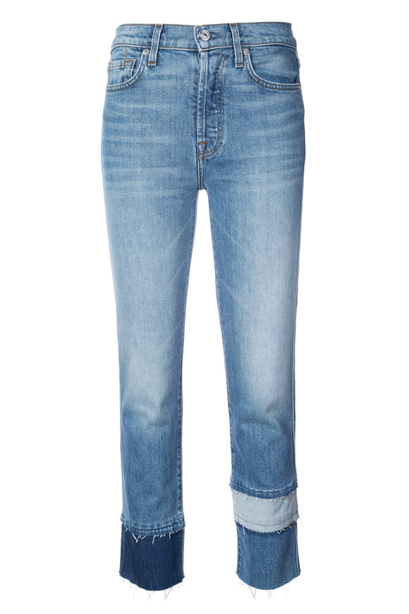 7 For All Mankind Edie Patchwork Fray Cuff Jean