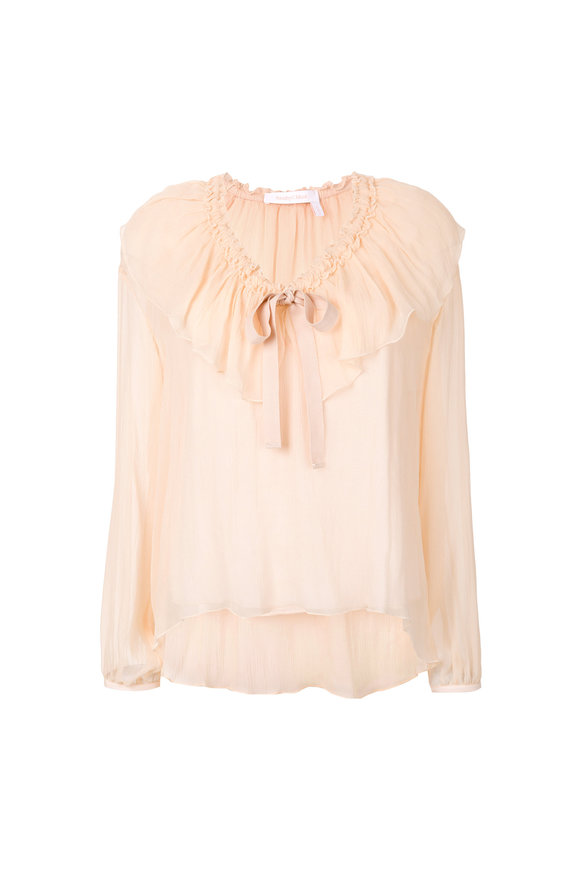 See by Chloé Honey Pink Silk Top
