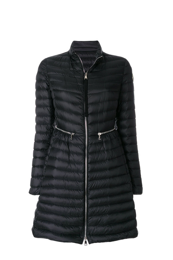 Moncler Agatelon Black Quilted High-Neck Long Puffer