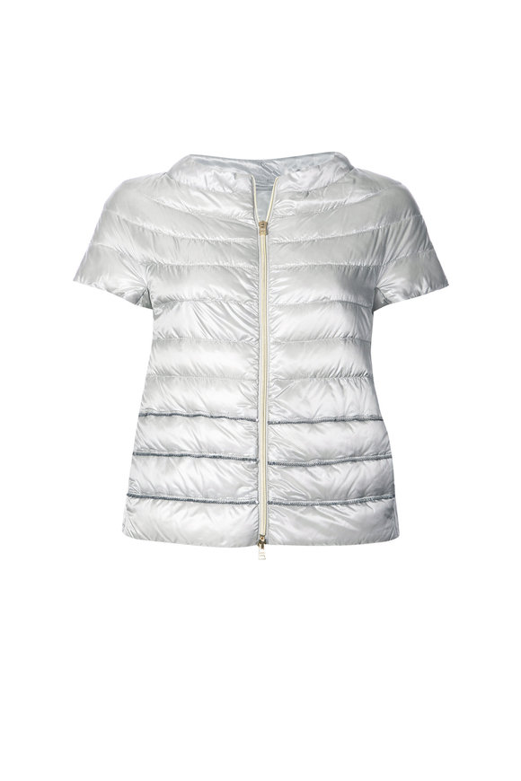 Herno Silver Cap Sleeve Sequined Jacket
