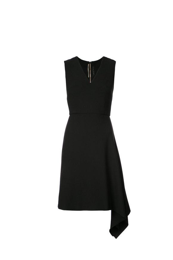 Roland Mouret Aylsham Black V-Neck Side Drape Dress