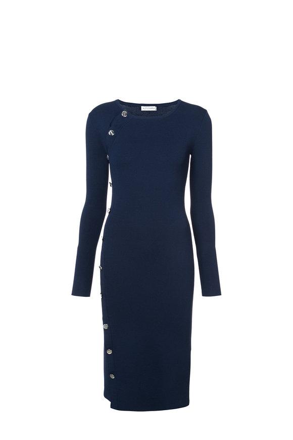 Altuzarra Arzel Navy Side Button-Up Dress