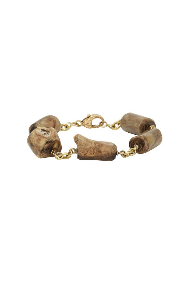 Gold & Fossilized Alaskan Coral Bracelet