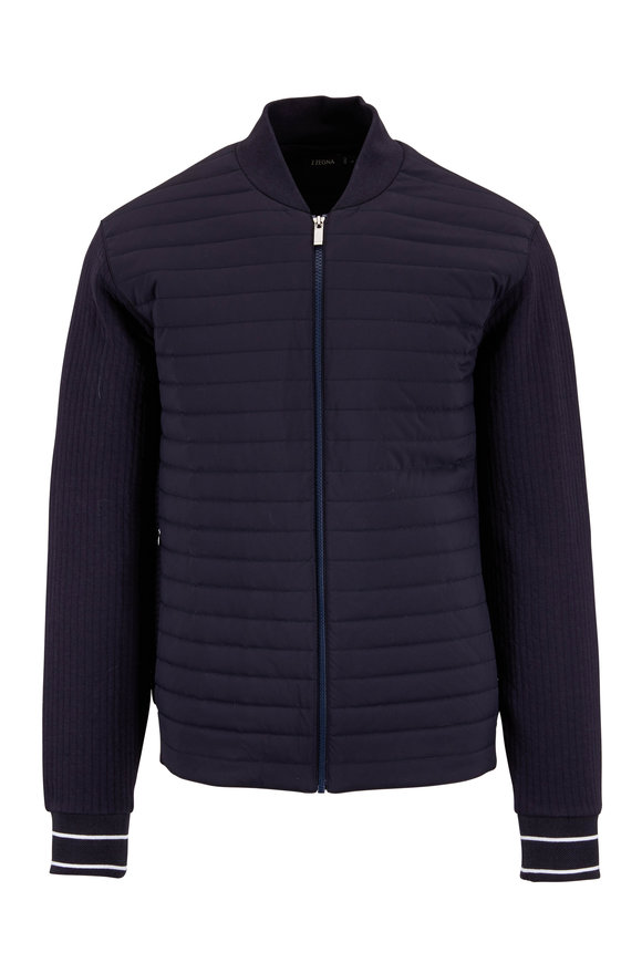 Z Zegna Navy Blue Quilted Sweatshirt Jacket