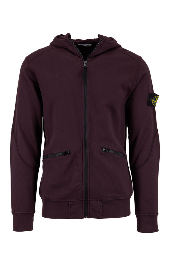 Stone Island Burgundy Cotton Full-Zip Hoodie