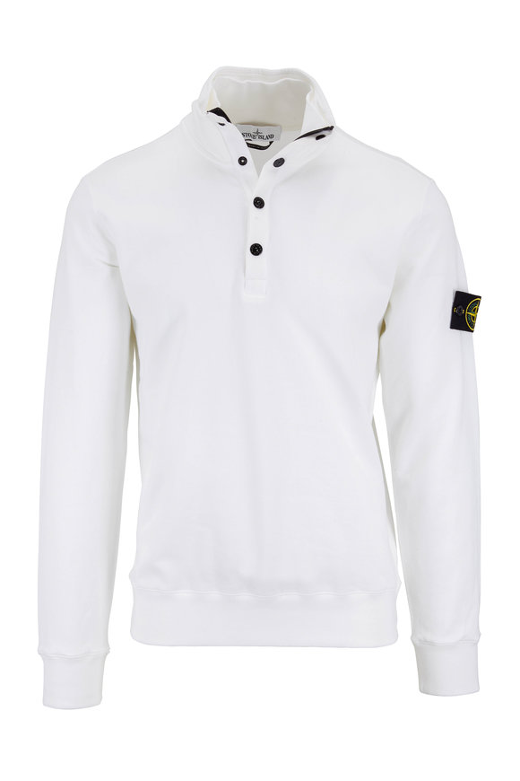 Stone Island White Cotton Quarter-Zip Sweatshirt