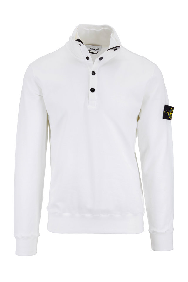 White Cotton Quarter-Zip Sweatshirt