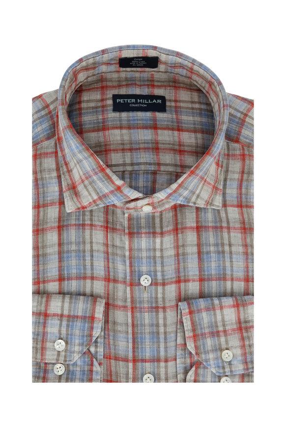 Peter Millar Red & Tan Linen Sport Shirt