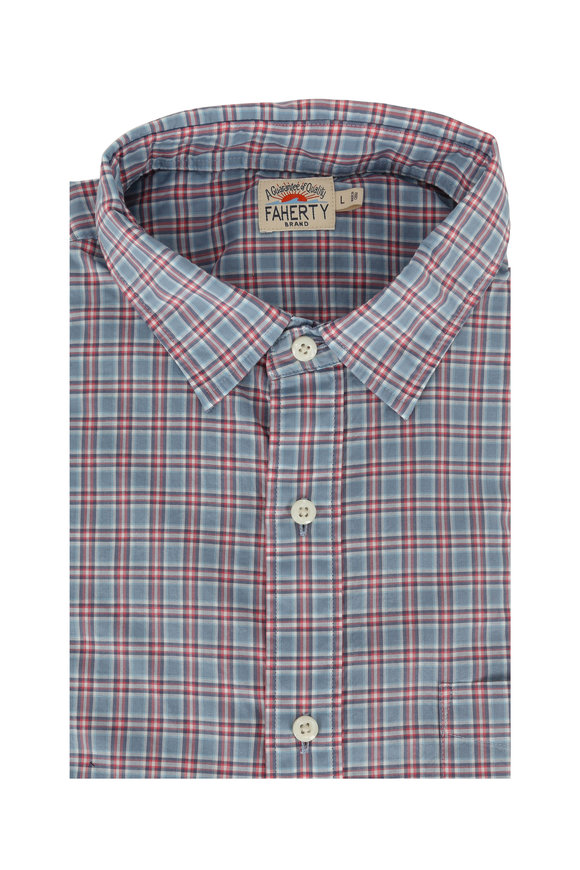 Faherty Brand Ventura Blue & Red Check Sport Shirt