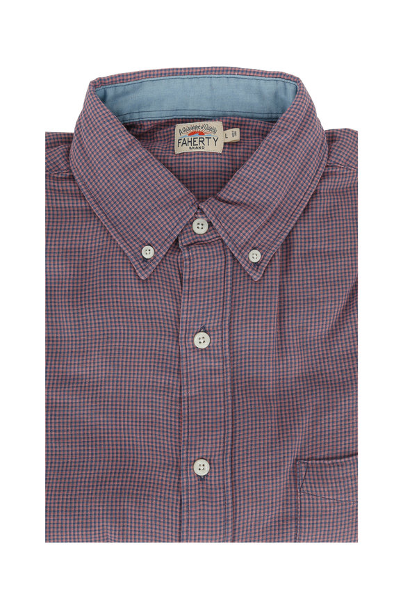 Faherty Brand Rose Mini Gingham Sport Shirt