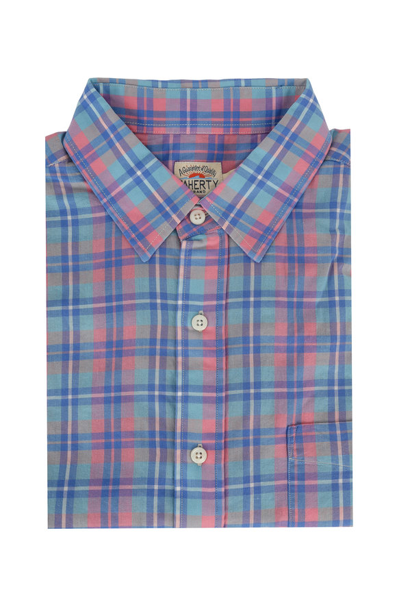 Faherty Brand Blue & Rose Multi Plaid Sport Shirt