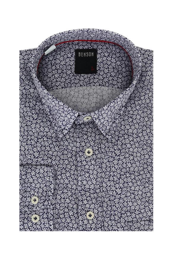 Benson  Blue Floral Linen Sport Shirt