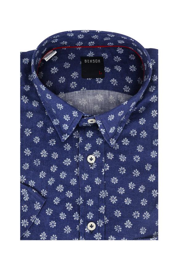 Benson  Chambray Floral Short Sleeve Sport Shirt