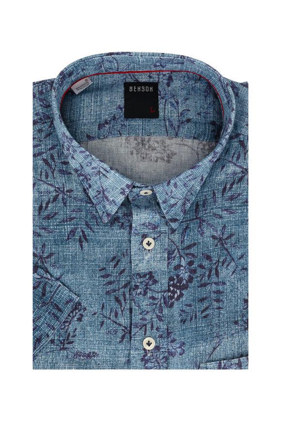 Benson  Blue Floral Linen Short Sleeve Sport Shirt