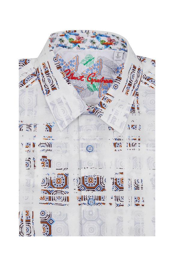 Robert Graham White Vega Mosaic Tiled Short Sleeve Sport Shirt