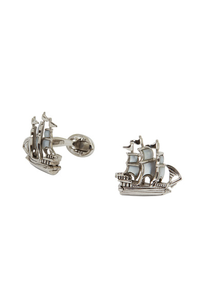 Jan Leslie - Sterling Silver Mother-Of-Pearl Ship Cuff Links