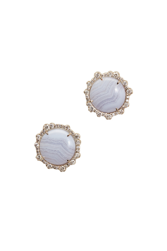 White Gold Blue Lace Agate Diamond Stud Earrings