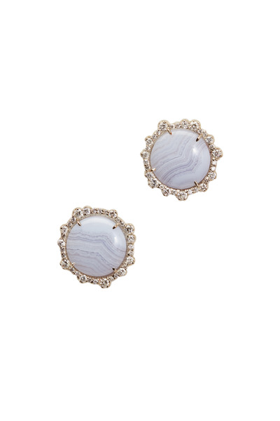 Kimberly McDonald - White Gold Blue Lace Agate Diamond Stud Earrings