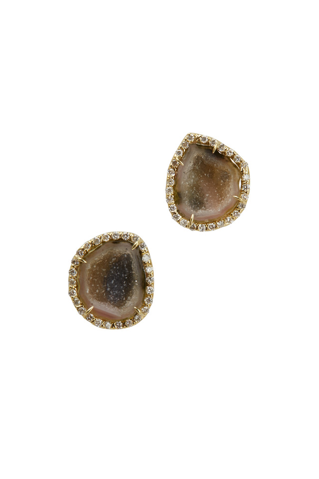 Yellow Gold Neutral Geode Diamond Stud Earings