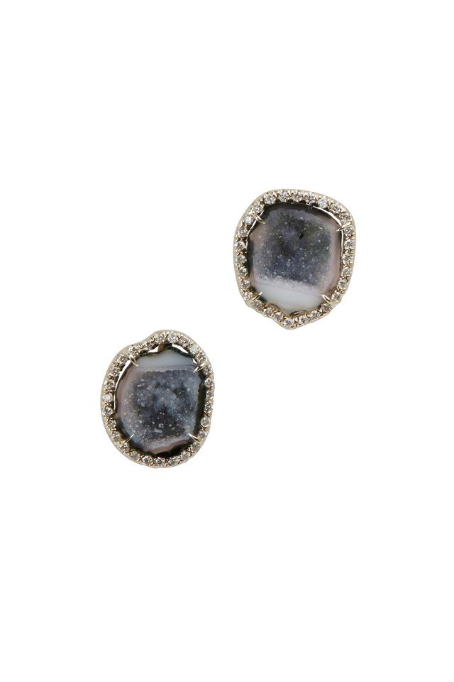 White Gold Tanslucent Blue Geode Diamond Studs