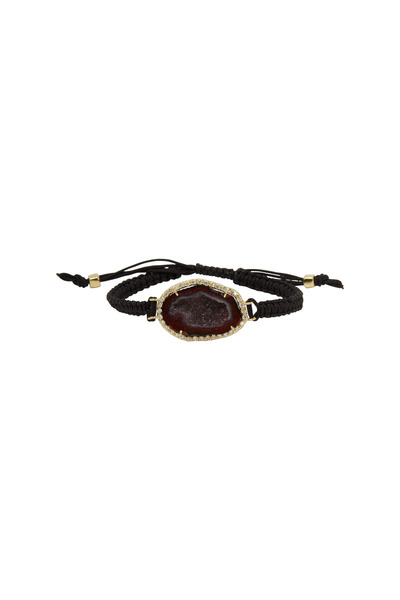 Kimberly McDonald - Yellow Gold Deep Red Geode Macrame Bracelet
