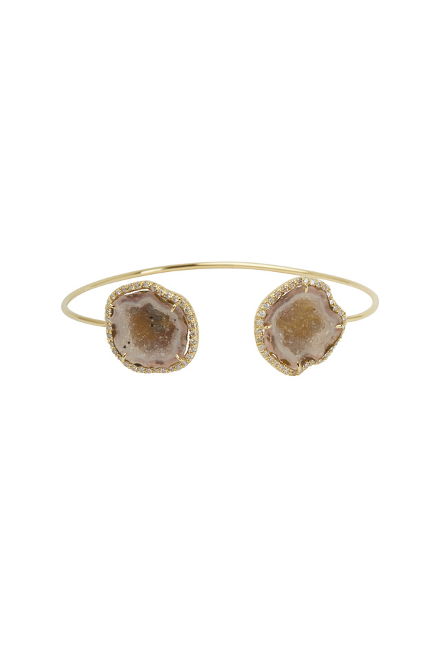 Yellow Gold Light Geode Wire Cuff Bracelet