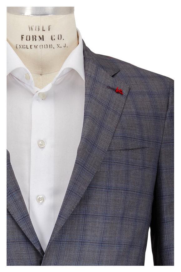 Isaia Gray & Blue Plaid Silk Suit
