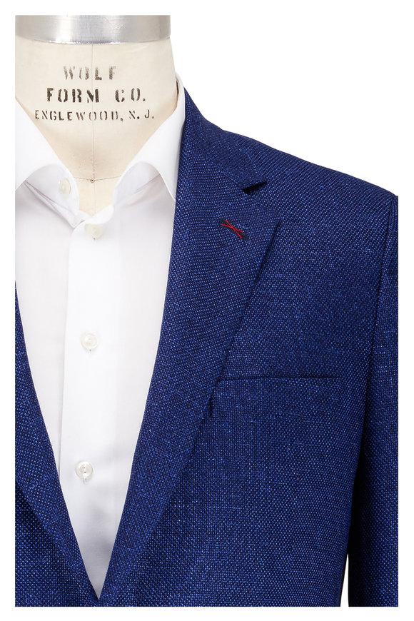 Samuelsohn Medium Blue Birdseye Wool, Silk & Linen Sportcoat